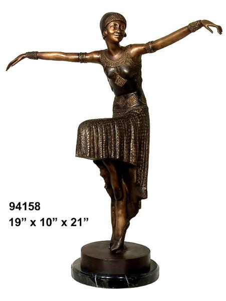 Bronze Dancing Lady Statue - AF 94158