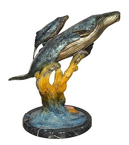 Bronze Humpback Whale & Calf Statue - AF 94555NB