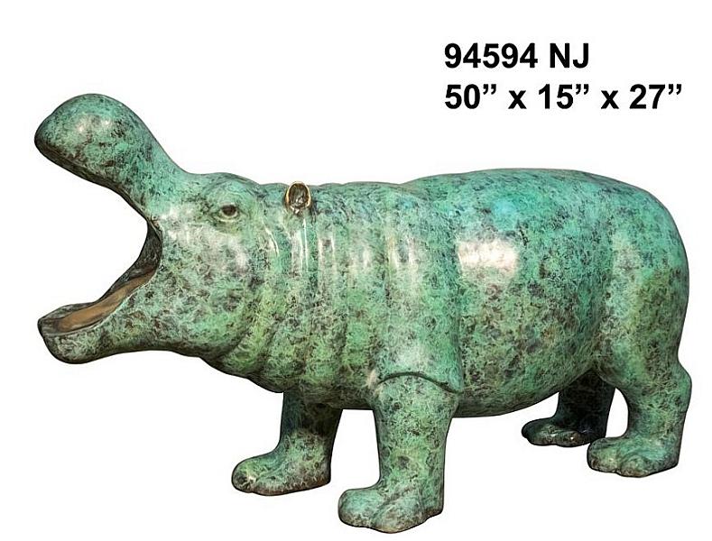 Bronze Hippopotamus Statue - AF 94594 NJ