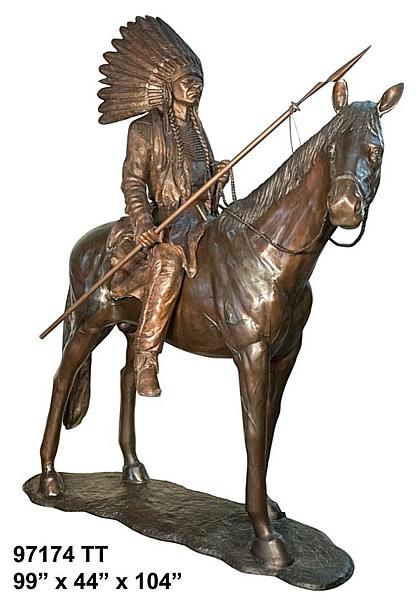 Bronze Indian Chief Statue - AF 97174 TT