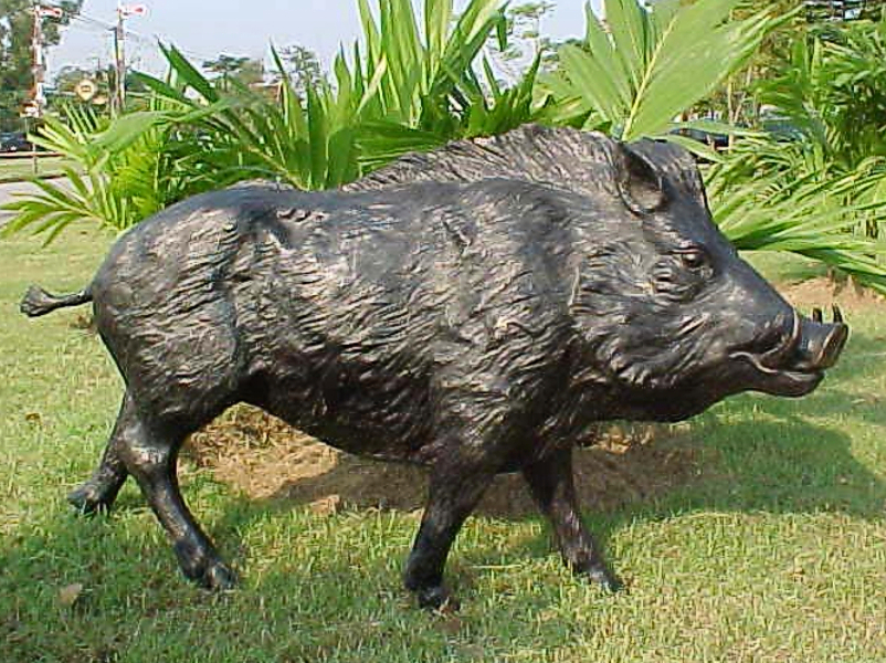 Bronze Wild Boar Statue - PA A-1048B