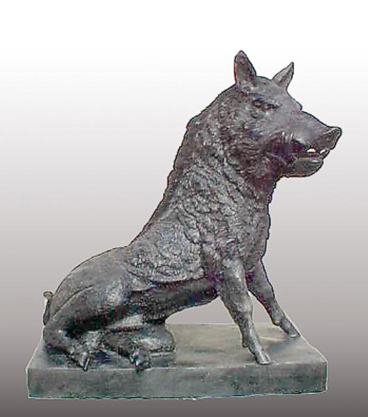 Bronze Wild Boar Statue - PA A-1085