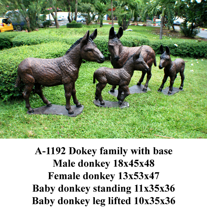 Bronze Donkey Family Statues - PA A-1192