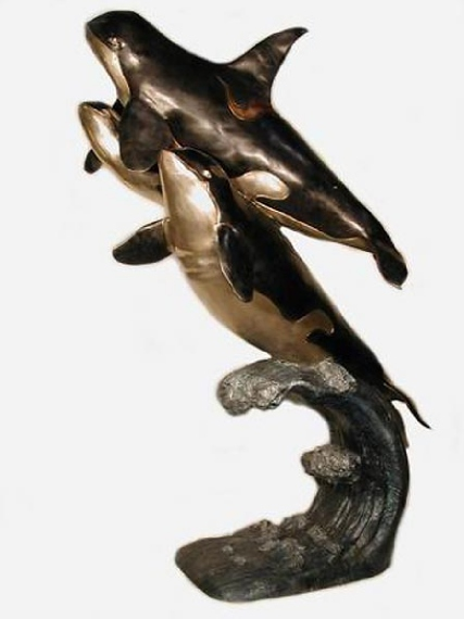 Bronze  Orca Whales Statue - AF 28460