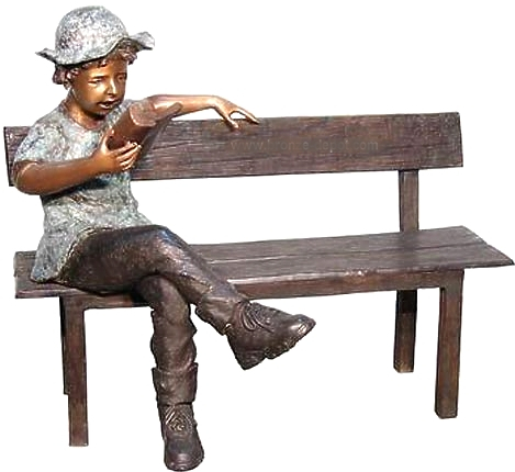 Bronze Child on Bench Reading - AF 50394