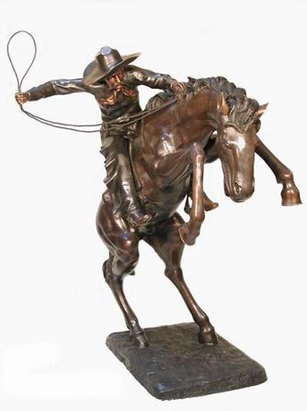 Bronze Cowboy Lasso Statue - AF 74045