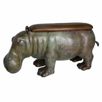 Bronze Hippopotamus Bench - AF 94170GR