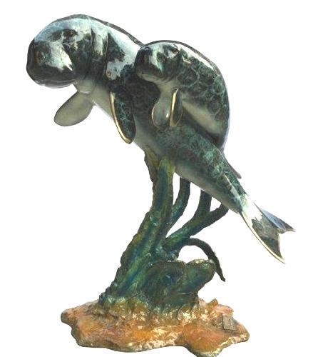 Bronze Manatee & Calf Statue - DK 2560C