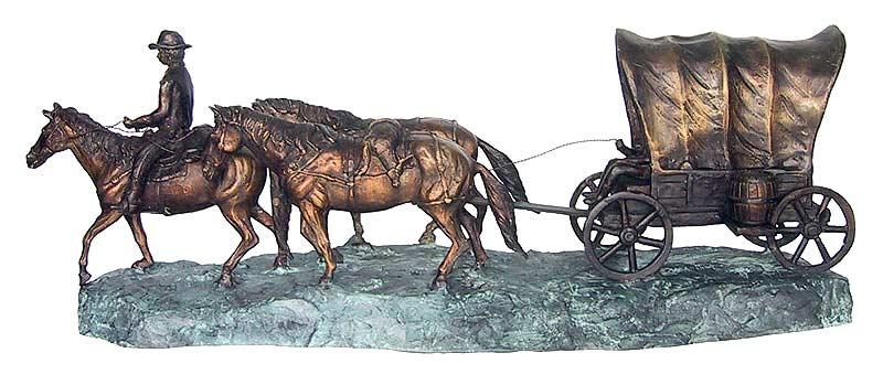 Bronze Wagon Train Sculpture - DD E-234
