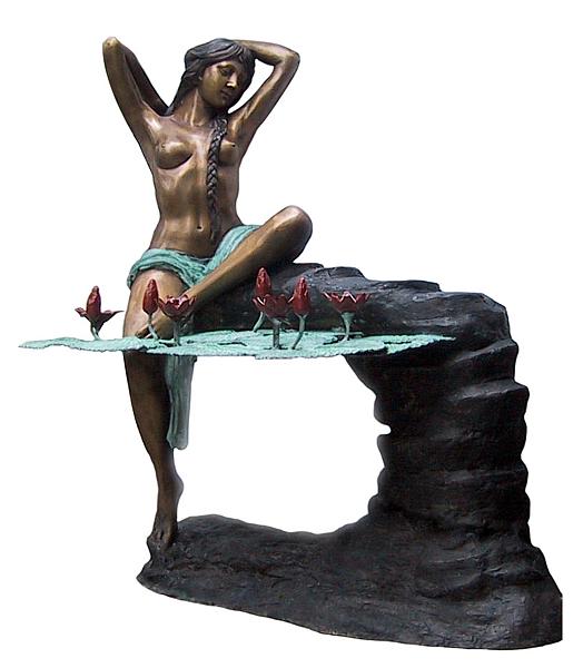 Bronze Lady Lotus Fountain - DD F-059