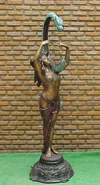 Bronze  Nude Harp Fountain - PA F-1011