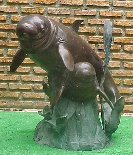 Bronze Manatee & Calf Statue - PA F-1019
