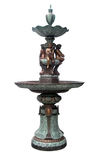 Bronze Boys Fish Tier Fountain - DD F-104