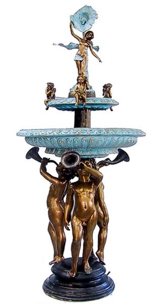 Bronze Boys Blowing Horn Fountain - DD F-6012
