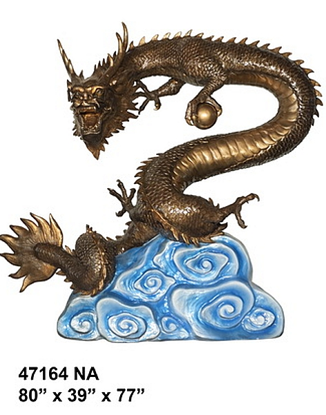 Bronze Dragon Statue or Fountain - AF 47164NA