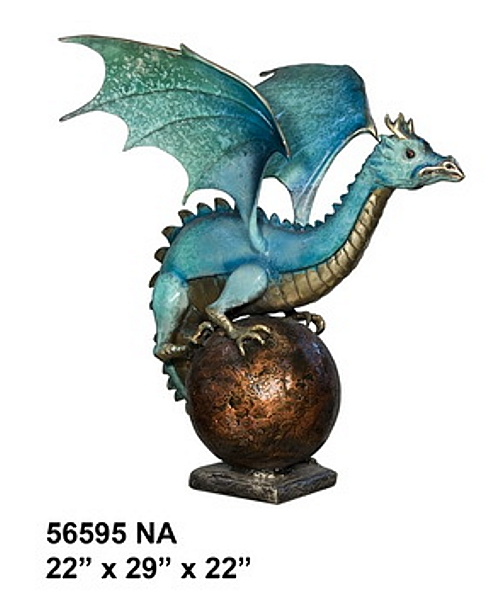 Bronze Dragon Statue or Fountain - AF 56595NA