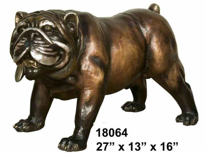 Bronze Bulldog Mascot Statue - AF 18064