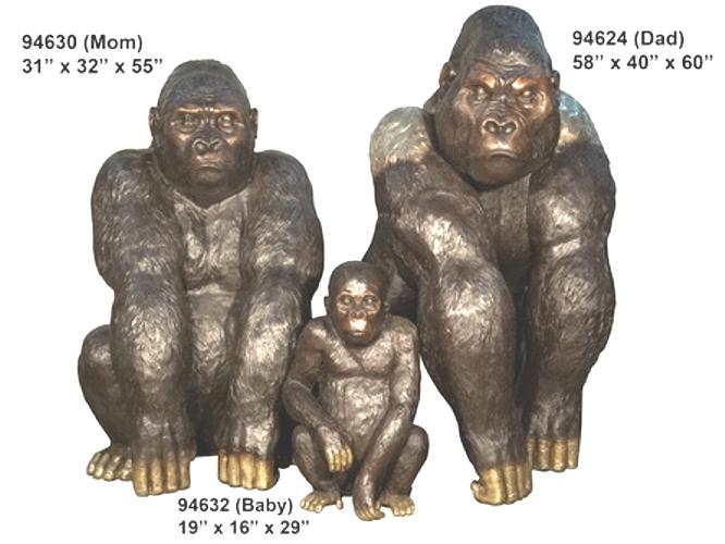 Bronze Gorilla Family - AF 94624-30-32